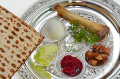 Passover Seder Plate. Matzo bread next to Passover Seder Plate with The seventh symbolic item used during the seder meal on passover Jewish holiday Royalty Free Stock Photos