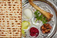 Passover Seder Plate. Matzo bread next to Passover Seder Plate with The seventh symbolic item used during the seder meal on passover Jewish holiday Royalty Free Stock Photography