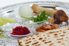 Passover Seder Plate. With The seventh symbolic item used during the seder meal on passover Jewish holiday Stock Photos