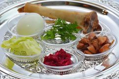 Passover Seder Plate. With The seventh symbolic item used during the seder meal on passover Jewish holiday Stock Photo