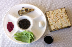 Passover Seder Plate. On the table during the Jewish holiday on Passover - Pesach eve Royalty Free Stock Images