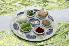 Passover Seder plate. Traditional Passover Seder plate with six items which have significance to the retelling of the story of Passover - the exodus from Egypt Stock Photography