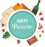 Passover seder talerz z płaskimi tradycyjnymi ikonami Kartka z pozdrowieniami projekta szablon również zwrócić corel ilustracji w ilustracji