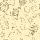 Passover symbols seamless vector pattern Stock Images