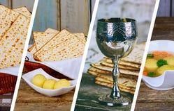 Passover tło z wino butelką, matzoh i seder fotografii półkowego kolażu różnym obrazkiem, fotografia stock