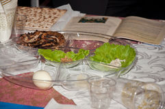 Passover traditional meal with matzo, egg, salad. Jewish traditions Stock Image