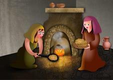 Passover Unleavened Bread. A cartoon illustration of ancient hebrew women baking unleavened bread for the passover meal vector illustration