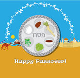 Passover vector card with hebrew text - Passover Royalty Free Stock Photo