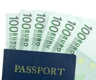 Passport and 100 Euro Banknote Royalty Free Stock Photos