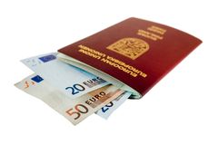 Passport. With some european money Royalty Free Stock Photography