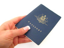Passport. Hand over your passport - on a white background Stock Image