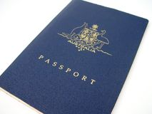 Passport. Hand over your passport- on a white background Royalty Free Stock Photography