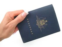 Passport. Hand over your passport- on a white background Royalty Free Stock Images