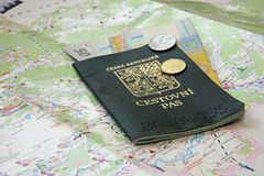 Passport. And Ukrainian money on a map of Ukraine Stock Photo