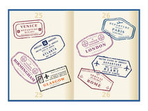 Passport. Various colorful visa stamps (not real) on passport pages. International business travel concept. Frequent flyer visas stock illustration