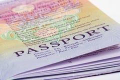 Passport. A closeup shot of a passport on a white background Stock Photography