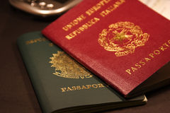 Passport. Brazilian & Italian (EU) Passports Royalty Free Stock Photo