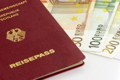 Passport. With European bank notes on white background Stock Photography