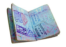 Passport. Well used open  us passport on white Royalty Free Stock Photography