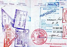 Passport. Close up of visas in a well traveled passport Stock Images