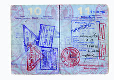 Passport. Hi res scan of a us passport with asian visa,s Stock Images