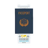 Passport, airline ticket with flat color design vector icon. Stock Photography