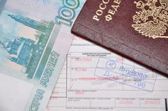 Passport And Airline Ticket and money Stock Photography