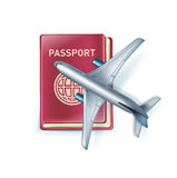 Passport with airplane icon isolated on white Stock Image