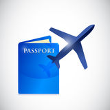 Passport and airplane illustration design Royalty Free Stock Images