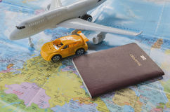 Passport, airplane and map. Of world Royalty Free Stock Photos
