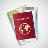 Passport with airplane ticket and map. Travel concept background Stock Photo