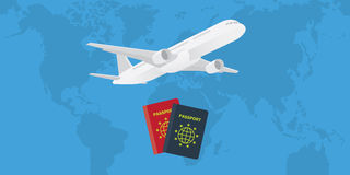Passport with airplane and world map as background. Vector illustration stock illustration