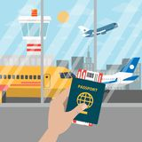 Passport for airport. Passport for airport in hand with tickets stock illustration