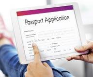 Passport Application Emigration National Border Concept. Digital Tablet passport Application Form Concept stock photos