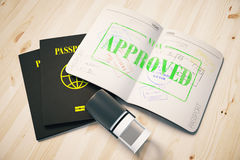 Passport with approved visa. Passport with green approved visa stamp on wooden background. Topview. Travel concept, 3D Rendering Stock Photo