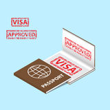 Passport with approved visa stamp in a book. Isometric style stock illustration