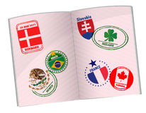 Passport around the world stamps Stock Images