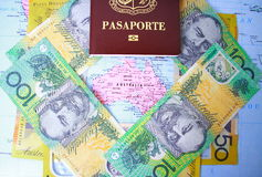 Passport and Australian money Stock Photography