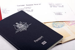 Passport and baggage receipt Stock Photos