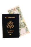Passport with Bahamian Money. In it Royalty Free Stock Photo