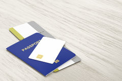 Passport, bank card and boarding pass. Passport and blank bank card and boarding pass on wooden table stock illustration