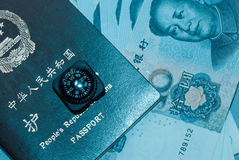 Passport bank note and compass Royalty Free Stock Images