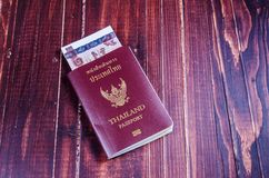 Passport with banknote Royalty Free Stock Image