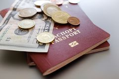 Passport with banknotes and coins on a plain background stock image