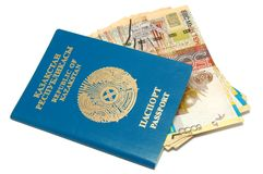 Passport and banknotes of Kazakhstan Royalty Free Stock Images