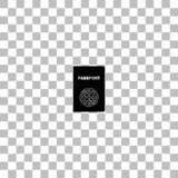 Passport icon flat. Passport. Black flat icon on a transparent background. Pictogram for your project royalty free illustration