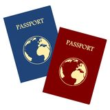 Passport. Blue and red Passport on white background royalty free illustration