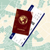 Passport with a boarding pass Royalty Free Stock Photos