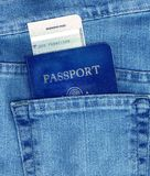 Passport and Boarding Pass in Pocket Royalty Free Stock Image