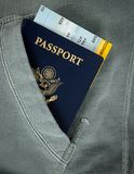 Passport with boarding pass Stock Images
